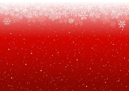 白い雪のボーダーとクリスマスの背景  イラスト・ベクター素材