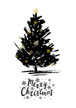 Christmas greeting card with Xmas tree sketch Illustration