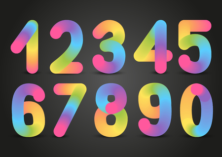Set of rainbow numbers on dark background Illustration