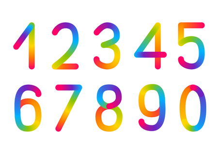 Set of rainbow numbers isolated on white