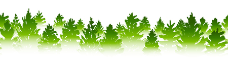 Seamless border with coniferous forest sihouette isolated on white Illustration