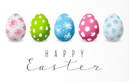 Conjunto de huevos de Pascua decorados de color Ilustración de vector
