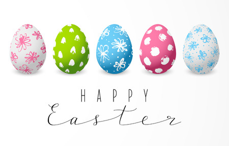 Set of color decorated Easter eggs Illustration