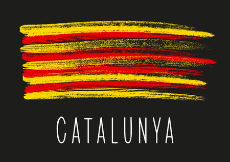 Flag of Catalonia on dark background