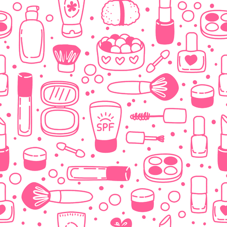 Seamless pattern with cute cosmetics Illustration
