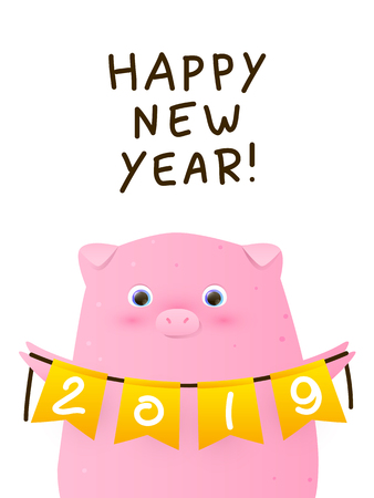 Greeting card with cute pig - a symbol of the New Year 2019  イラスト・ベクター素材