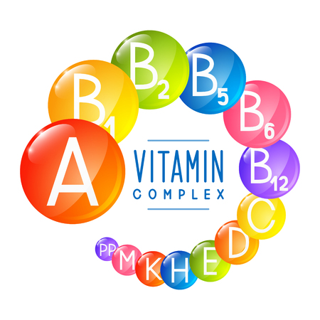 Principales iconos de vitaminas para su diseño Ilustración de vector