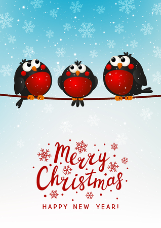 Christmas greeting card with cute bullfinches