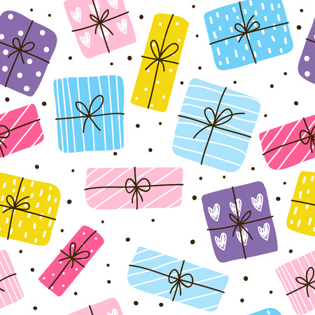 Seamless pattern with color gift boxes