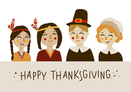 Thanksgiving greeting card with Indians and pilgrims at the table Vettoriali