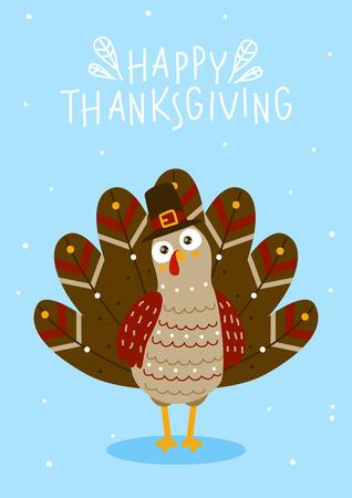 Kartkę z życzeniami Dziękczynienia z uroczym indykiem
