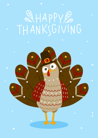 Thanksgiving greeting card with cute turkey Çizim