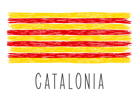 Flag of Catalonia isolated on white