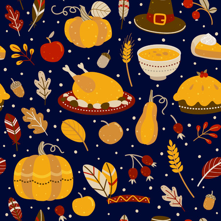 Seamless pattern with Thanksgiving day elements Vettoriali