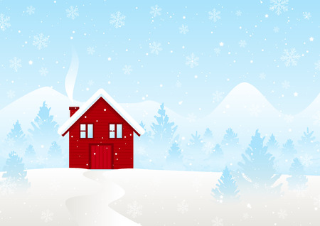 Christmas greeting card with winter landscape Ilustrace