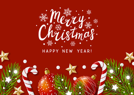 Christmas greeting card with holiday decor