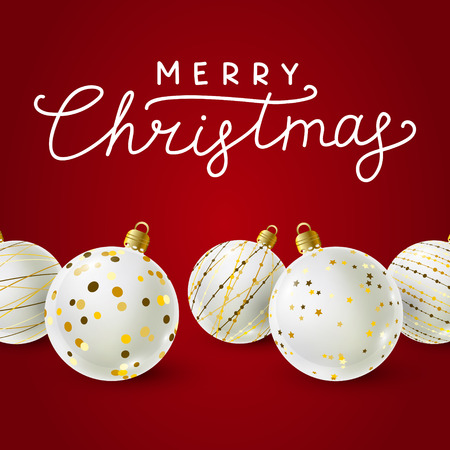 White Christmas balls with golden decorations on red