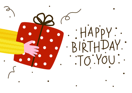 Birthday greeting card with gift box
