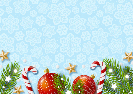 Christmas greeting card with holiday decor on blue Ilustrace