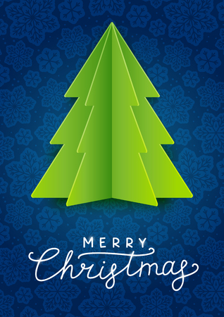 Greeting card with green paper Christmas tree