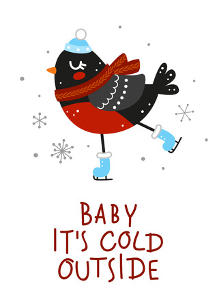 Winter greeting card with cute bullfinch Ilustrace