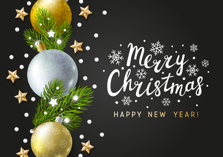 Christmas greeting card with holiday decor on dark background