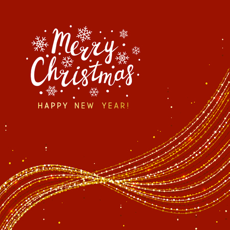Christmas background with golden shiny wave decoration
