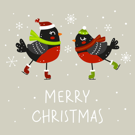 Winter greeting card with cute bullfinches