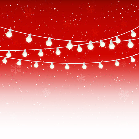 Christmas light bulbs on starry red background