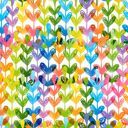 Seamless pattern with rainbow herbal silhouettes Vektorové ilustrace