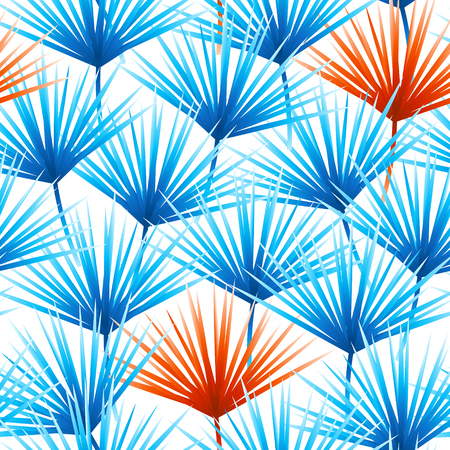Seamless pattern with vibrant tropical leaves