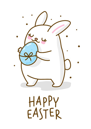 Cute Easter rabbit with color egg