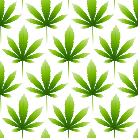 Seamless pattern with green hemp leaves