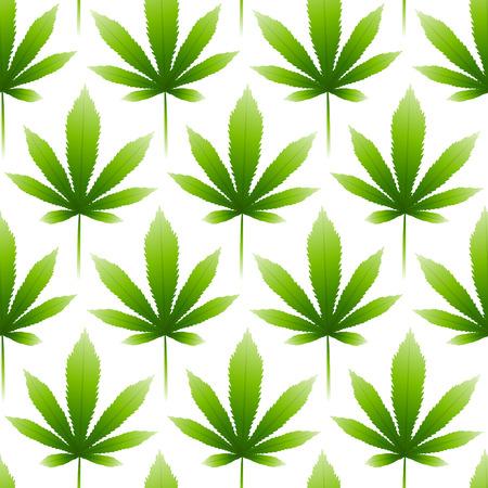 Seamless pattern with green hemp leaves