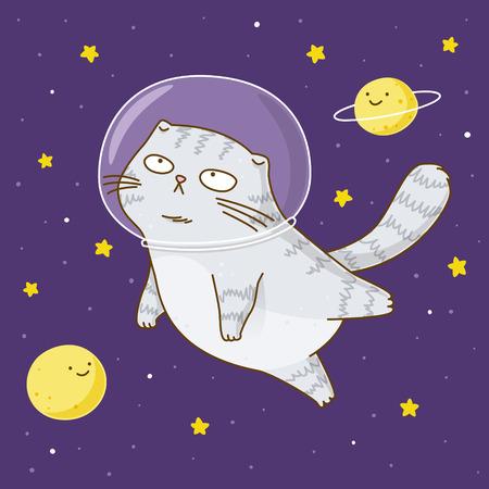 Astronaute de chat scottishfold mignon sur fond d'espace étoilé