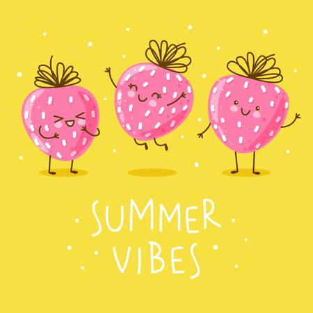 Cute happy strawberries on yellow background Ilustrace