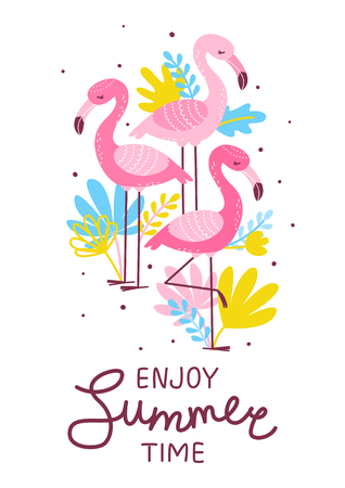 Pink flamingos with color tropical leaves - summer greeting card