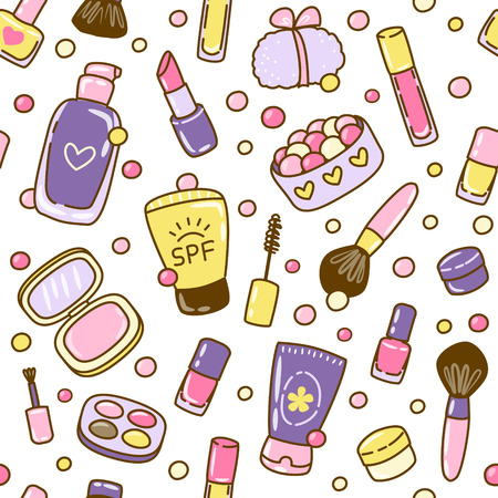 Seamless pattern with cute cosmetics elements on white background