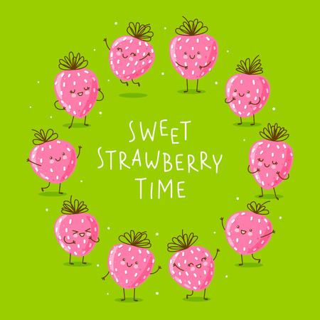 Cute happy strawberries round frame on green background