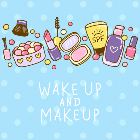 Cute makeup border with cosmetics Ilustrace