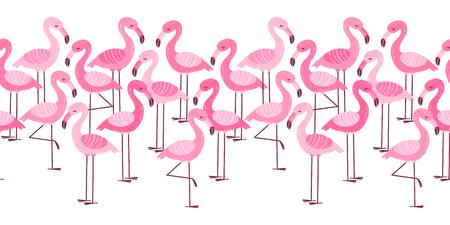 Seamless border with cartoon pink flamingos isolated on white