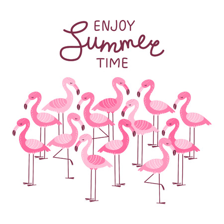 Pink flamingos isolated on white - summer greeting card