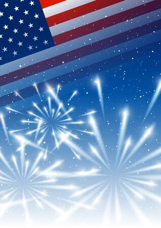 Independence day background with flag and shiny fireworks Ilustrace