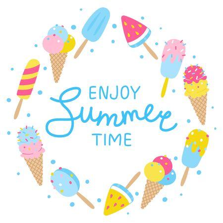Cartoon summer ice cream