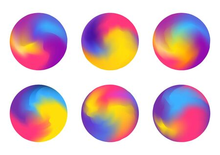 Set of abstract color round elements isolated on white for Your bright design