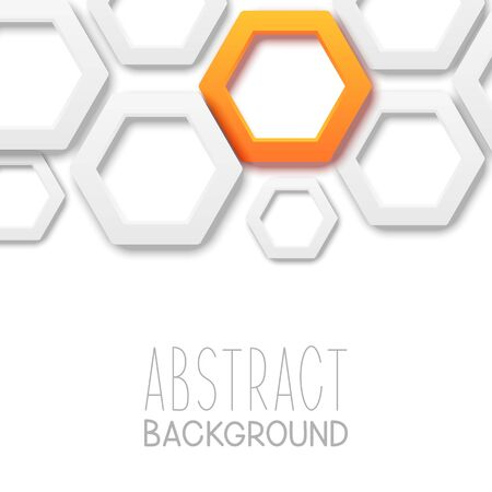 Abstract background with hexagonal relief elements on white