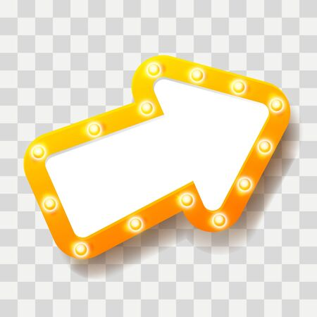 Yellow arrow with shiny light bulbs on transparent background