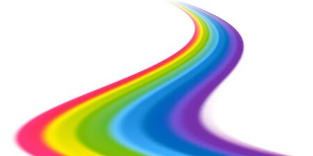 Vector rainbow wave on white background