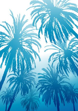 Summer tropical trees with palm trees  イラスト・ベクター素材