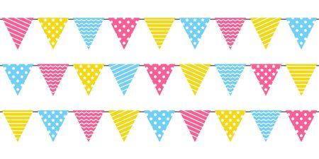Bordo senza cuciture con bandiere colorate per feste di compleanno